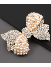 Fashion Bowknot Alloy Brooch With Diamond And Pearl Bow