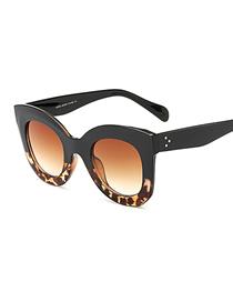 Fashion C3 Upper Black Lower Amber/gradient Tea Large Frame Butterfly Sunglasses