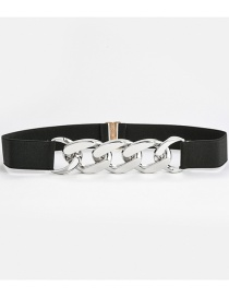 Fashion Black-silver Buckle Stretch Elastic Slim Waistband
