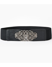 Fashion Black-gun Buckle Patterned Elastic Elastic Waist Seal
