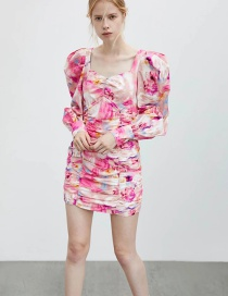 Fashion Pink V-neck Contrast Color Puff Sleeve Ruffle Dress