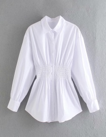 Fashion White Pleated Waist Solid Color Shirt
