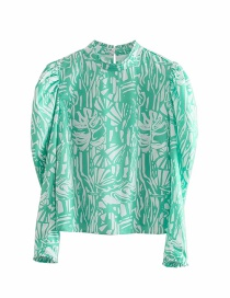 Fashion Green Printed Puff Sleeve Top