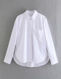 Fashion White Single-breasted Solid Color Loose Shirt