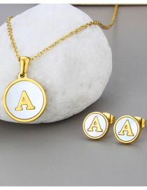 Fashion A Gold Color Letter Shell Titanium Steel Necklace And Earring Set