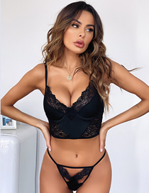 Fashion Black Lace Underwear Sling Set