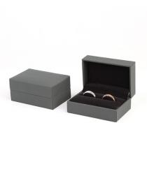 Fashion Dark Gray Ring Box Leather Jewelry Packaging Box
