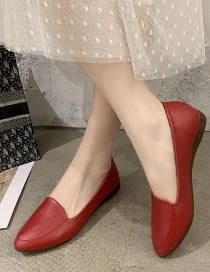 Fashion Red Soft-soled Pointed Toe Shallow Low-heeled Flat Shoes