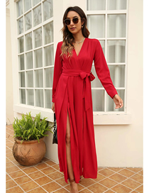 Fashion Red Long Sleeve V-neck Jumpsuit