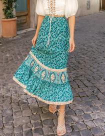 Fashion Blue Mermaid Skirt With Print Skirt