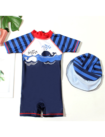 Fashion Boy Siamese Little Whale + Red Collar Childrens Suit Surfing Whale One-piece Swimsuit