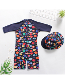 Fashion Boy A Lot Of Fish Printed Fish One-piece Swimsuit Set Free Swimming Cap Boxer