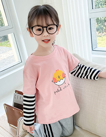 Fashion Black And White Striped Chick Pink Long-sleeved Cotton Striped Stitching Childrens T-shirt