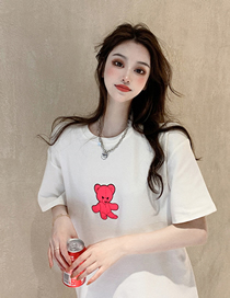 Fashion White Short-sleeved Bear Crew Neck Top