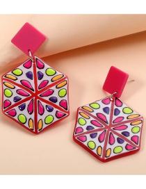 Fashion Pink Acrylic Geometric Pink Abstract Earrings