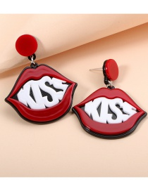 Fashion Red Acrylic Acetate Plate Red Lip Stud Earrings