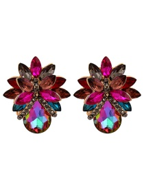 Fashion Color Flower Earrings With Diamonds