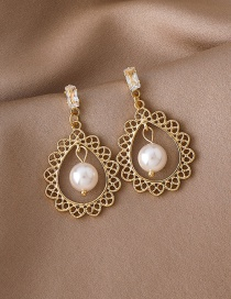 Fashion Gold Color Hollow Lace Pearl Earrings