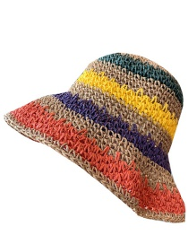 Fashion Khaki Striped Rainbow Hollow Foldable Straw Hat