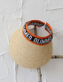 Fashion Orange Raffia Empty Top Letter Straw Hat