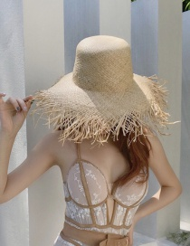 Fashion True Color Raffia Hat With Raw Edges And Big Brim
