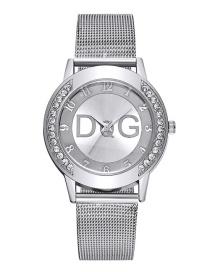 Fashion Silver Color Bilateral Diamond Mesh Strap Watch