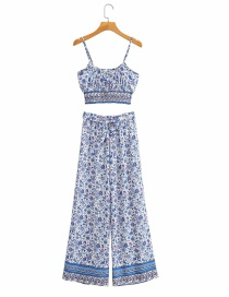 Fashion Blue Printed Suspender Top And Trousers Suit