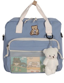 Fashion Light Blue Embroidered Bear Soft Sister Portable Messenger Backpack