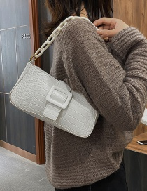 Fashion White Crocodile Texture Hand Chain Shoulder Messenger Bag