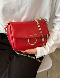 Fashion Red Chain Metal Crossbody Shoulder Bag