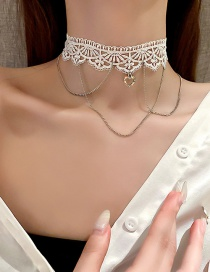 Fashion White Necklace Lace Diamond Love Heart Hollow Tassel Chain Necklace