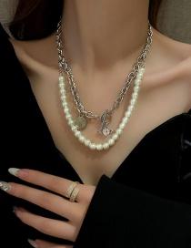 Fashion Silver Chain Love Zircon Pearl Double Round Brand Metal Chain Necklace