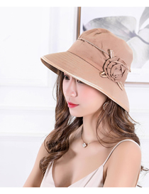 Fashion Khaki Sun Protection Foldable Flower Big Eaves Sun Hat