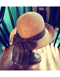 Fashion Khaki Foldable Bow-knot Rolled-edge Straw Hat