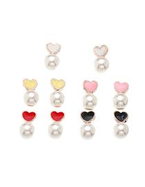 Fashion Color Mixing Set Of 5 Pairs Of Peach Heart Pearl Love Ear Studs