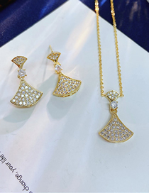 Fashion Golden Golden Scalloped Earrings Necklace Set