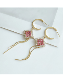 Fashion Pink Square Gold Tassel C-shaped Earrings