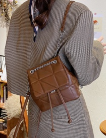 Fashion Brown Lingge Embroidery Thread Backpack
