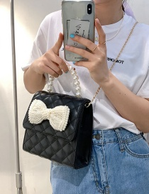 Fashion Large Black Pearl Crossbody Bag With Rhombus Bow