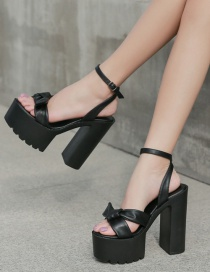 Fashion Black Block-heeled Bow With Open-toed Sandals