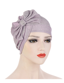 Fashion Light Purple Multicolor Glitter Bow Cross Forehead Cap