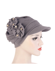 Fashion Dark Gray Solid Color Appliquéd Hat With Diamond And Brim