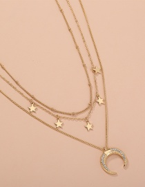 Fashion Golden Star And Moon Diamond Multilayer Necklace