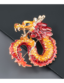 Fashion Red And Yellow Chinese Style Alloy Oil Dripping Dragon Brooch