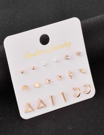 Fashion Golden Set Of 9 Pairs Of Diamond Alloy Earrings