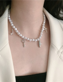 Fashion White Black Beads Bullet Head Cross Pearl Necklace