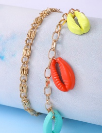 Fashion Color Color Shell Chain 2-piece Anklet