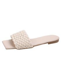 Fashion Off White Non-slip Sandals With One-word Braid