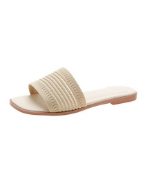 Fashion Off White Knitted Flat Slippers