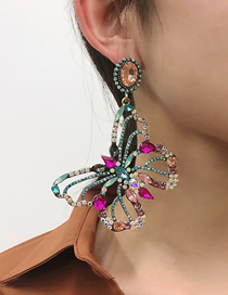 Fashion Rose Red Alloy Diamond Hollow Butterfly Stud Earrings